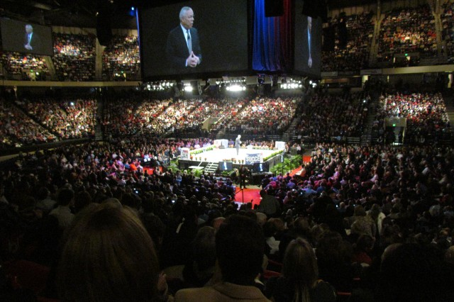 """One of the biggest draws to the """"Get Motivated"""" Business Seminar in Birmingham was a speech on leadership given by retired Gen. Colin Powell. About 18,000 people attended the seminar at the Birmingham-Jefferson County Convention Complex."""