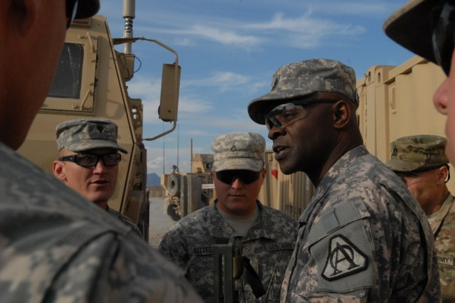 Command Sgt. Maj. Bernard McPherson, Program Executive Officer Soldier, listens to Soldiers' feedback during a visit Feb. 16 at Forward Operating Base Wilson, Afghanistan.