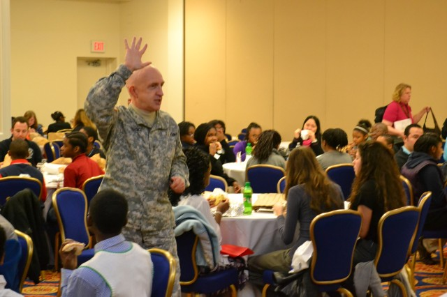 Maj. Gen. Nick Justice address middle and high school students