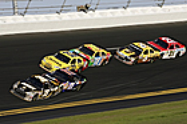 Ryan Newman in the No. 39 Army Chevrolet leads competitors around the Daytona International Speedway Sunday. He was in first place for more laps than any other NASCAR driver in the Daytona 500.