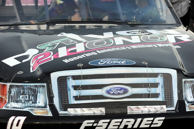 "Cobb's truck is painted to show off her ""Driven to Honor"" program, which honors women in the military."