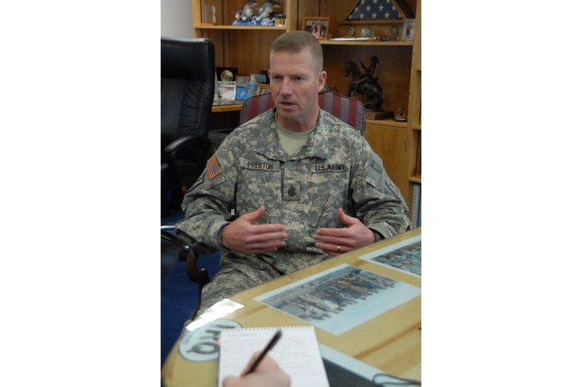 Sgt. Maj. of the Army Kenneth O. Preston discusses his career as the top enlisted advisor, emphasizing the importance of properly manning, equipping, and training the Army. Preston is the longest-serving SMA at seven years in the position.