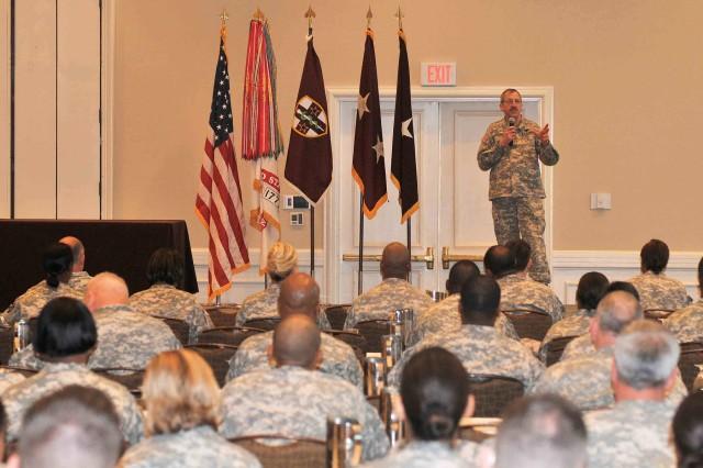 Maj. Gen. Robert J. Kasulke addresses the AR-MEDCOM Commanders Training Workshop Feb. 11 in Tampa, Fla.