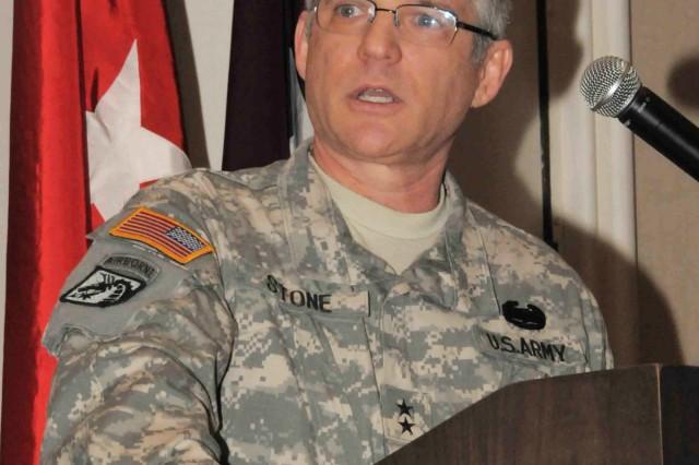Maj. Gen. Richard A. Stone addresses the AR-MEDCOM Commanders Training Workshop Feb. 11 in Tampa, Fla.