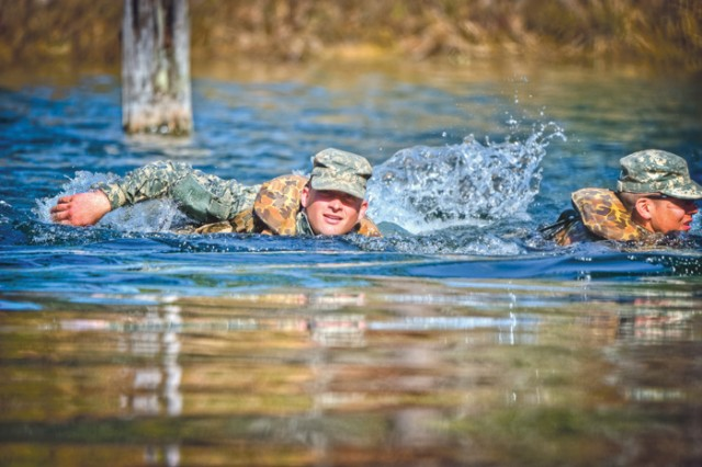 After parachuting into Camp Rudder, the Ranger students spend 18 days learning jungle tactics, including stream crossings. The course is designed to develop military leaders who are physically and mentally tough. It challenges them to think, act and react effectively in stressful situations.