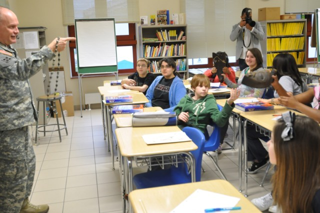 U.S. Army Africa Commander, Maj. Gen. David R. Hogg, makes a point while talking with world geography students at Vicenza Middle School in Vicenza, Italy, Feb. 22, 2011.""