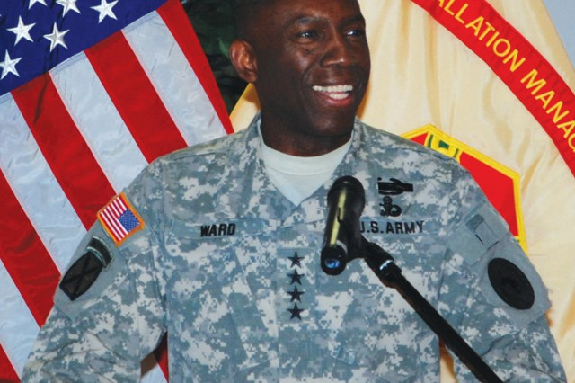 """Gen. William E. """"Kip"""" Ward, U.S. Africa Command commander, talks about why Martin Luther King Jr.'s life is worth emulating, during the USAG Stuttgart Martin Luther King Jr. observance Jan. 20, in Germany."""