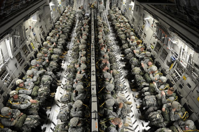 Paratroopers from the 82nd Airborne Division sit strapped into a C-17A Globemaster before they airdrop during Joint Operational Access Exercise at Pope Air Force Base, N.C., Feb. 9.