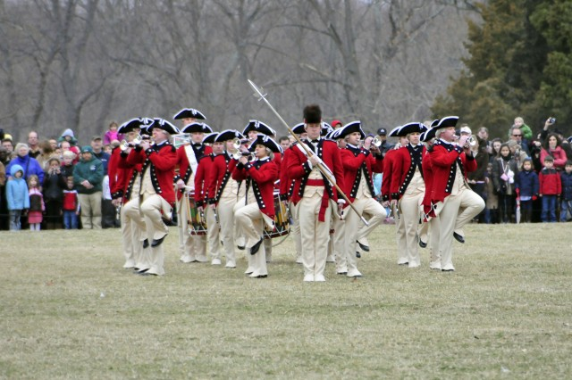 The Fife and Drum Corps, 3rd United States Infantry Regiment (The Old Guard), performs as part of a president's day celebration at Mount Vernon, Va. on February 21, 2011.""