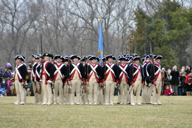 Alpha Company Soldiers, 3rd United States Infantry Regiment (The Old Guard), move into a rectangular defensive position during a firing demonstration at Mount Vernon, Va. on February 21, 2011. The rectangular defensive position was known as defense against enemy cavalry.""