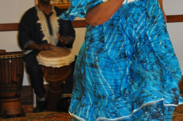 Sandra Gill of the Black Hands Drum Ensemble performs during the Black History Month Observance Feb. 15 at the Elkhorn Conference Center.