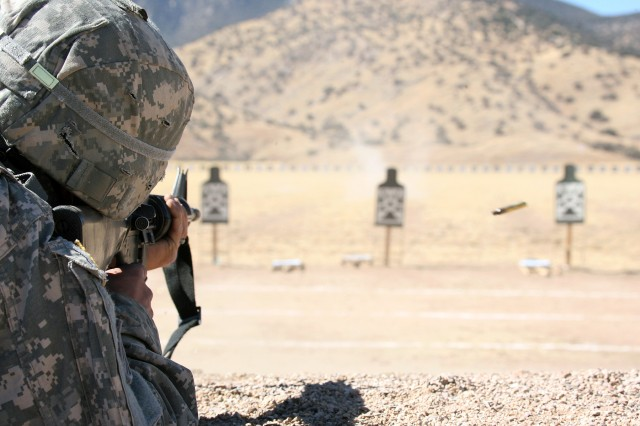 A Soldier fires an M16 rifle during the weapons qualification portion of the 2010 Best Warrior Competition, Feb. 15 at Range 6. During the Best Warrior competition, Soldiers were tested on a variety of military skills.