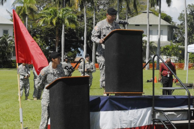 Command Sgt. Maj. Frank M. Leota, incoming U.S. Army Pacific command sergeant major, talks to attendees at the change of responsibility ceremony held Feb. 25 at Fort Shafter, Hawaii.  Leota was command sergeant major of the 25th Infantry Division at Schofield Barracks, Hawaii, before taking over as senior enlisted advisor to the USARPAC commander. Leota replaced Command Sgt. Maj. Joseph P. Zettlemoyer, who retired after 31 years of Army service.