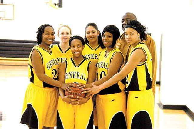 Fort Myer Lady Generals pose for a photo after their game against Fort Belvoir at the Fort McNair Fitness Center Sunday.