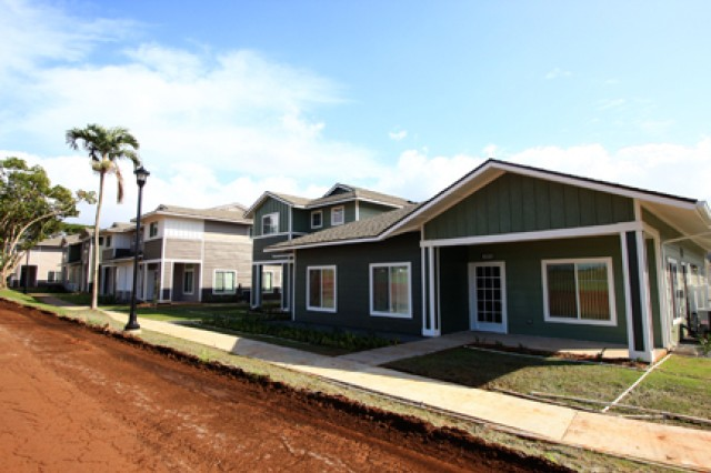 Construction is completed on 241 new homes in the Wili Wili neighborhood at Wheeler Army Airfield, in 2010.