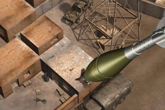 This illustration depicts an XM395 Accelerated Precision Mortar Initiative round closing in on a target.