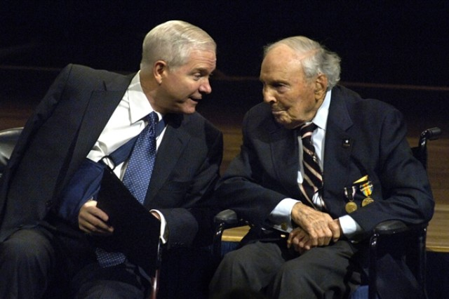 Defense Secretary Robert M. Gates, left, talks with Frank Buckles, the last living American World War I veteran, during a Pentagon ceremony March 6, 2008. Buckles died Feb. 27, 2011, at age 110.