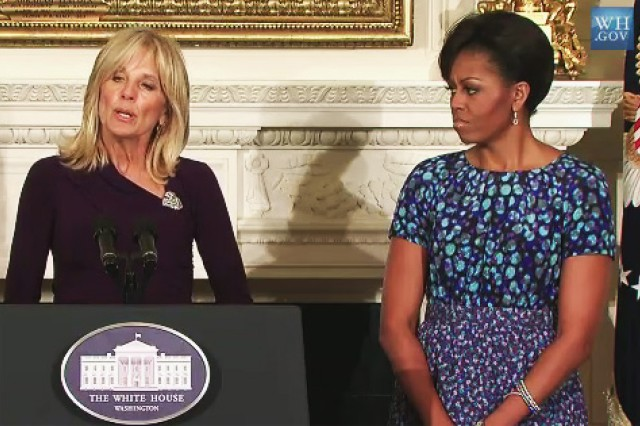 First Lady Michelle Obama and Jill Biden welcome the Nation's governors to the White House, Feb. 28, 2011, and talk about their campaign to support America's military families.