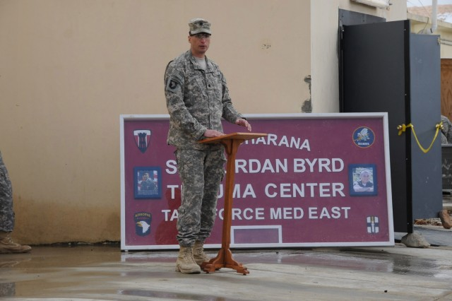U.S. Army Lt. Col. David Womack, commander of Task Force Red Currahee, 1st Battalion, 506th Infantry Regiment, 4th Brigade Combat Team, 101st Airborne Division, speaks at the opening of the Spc. Jordan Byrd Trauma Center at Forward Operating Base Sharana March 1. The trauma center is named for TF Currahee medic who died in Paktika Province Oct. 13, 2010 while administering life-saving medical treatment to a wounded Soldier while shielding him with his own body from direct fire from insurgents. (Photo by U.S. Army Sgt. Christina Sinders, Task Force Currahee Public Affairs)