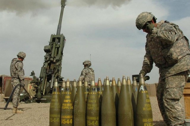 Soldiers fire precision-guided Excalibur cannon ammunition.