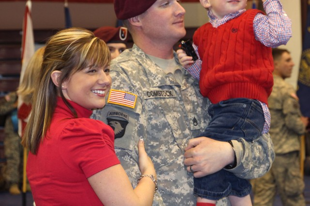 A 23rd Engineer Company family is reunited at a Feb. 25 ceremony marking the unit's return from a year in Afghanistan.