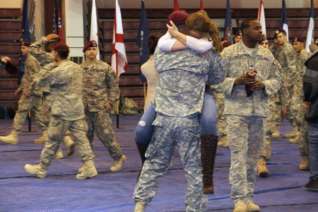 Family members reunite with Soldiers from the 23rd Engineer Company at a Feb. 25 ceremony marking the unit's return from a year in Afghanistan.