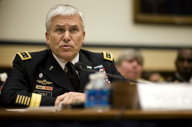Army Chief of Staff Gen. George W. Casey Jr., testifies during a House Armed Services Committee hearing in Washington, DC on Mar. 2, 2011. The committee is hearing testimony on the FY2012 budget request from the Department of the Army.