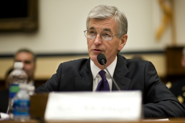 Secretary of the Army John McHugh testifies during a House Armed Services Committee hearing in Washington, DC on Mar. 2, 2011. The committee is hearing testimony on the FY2012 budget request from the Department of the Army.