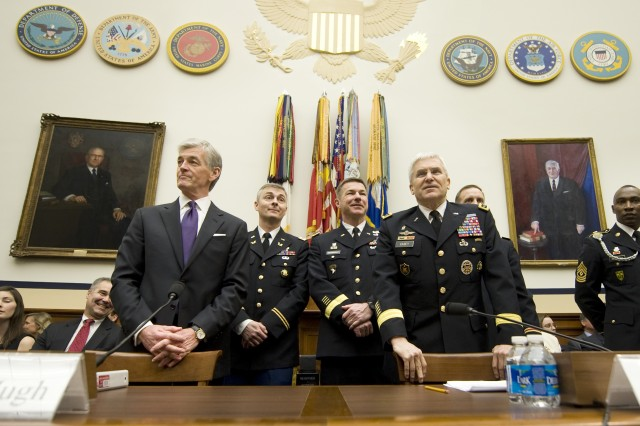 Secretary of the Army John McHugh and Army Chief of Staff Gen. George W. Casey Jr., prepare to testify at a House Armed Services Committee hearing  in Washington, DC Mar. 2, 2011.  The committee is hearing testimony on the FY2012 budget request from the Department of the Army.
