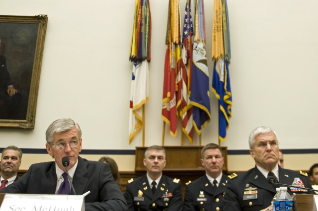 Secretary of the Army John McHugh and Army Chief of Staff Gen. George W. Casey Jr. testify during a House Armed Services Committee hearing in Washington, D.C., March 2.