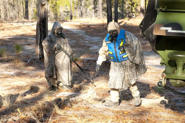Members of Fort Polk's 83rd Chemical, Biological, Radiological and Nuclear Battalion conduct field exercises at Fort Bragg, Feb. 11 to 15. Two 83rd units, the 21st and 101st Chemical Companies, are stationed at Fort Bragg, so the chemical recon and decontamination missions give Soldiers an opportunity to train together.