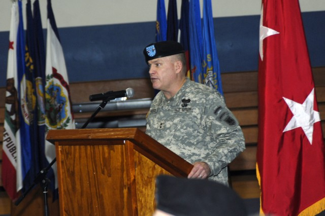 U.S. Army Africa Commander, Maj. Gen. David R. Hogg, speaks at the Assumption of Responsibility ceremony for Command Sgt. Maj. Hu Rhodes Feb. 17 in Vicenza, Italy.