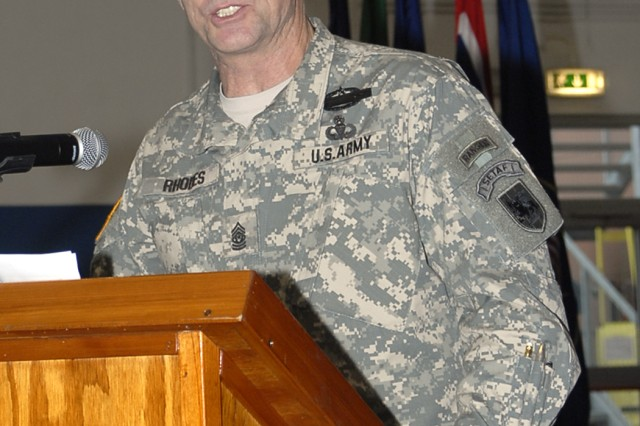 Command Sgt. Maj. Hu speaks at the Assumption of Responsibility ceremony Feb. 17 in Vicenza, Italy.