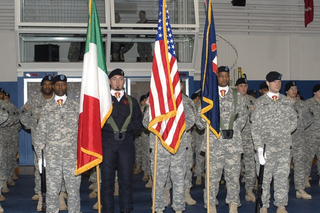 The Honor Guard stands ready in advance of the Assumption of Responsibility ceremony for U.S. Army Africa Command Sgt. Maj. Hu Rhodes Feb. 17 in Vicenza, Italy.