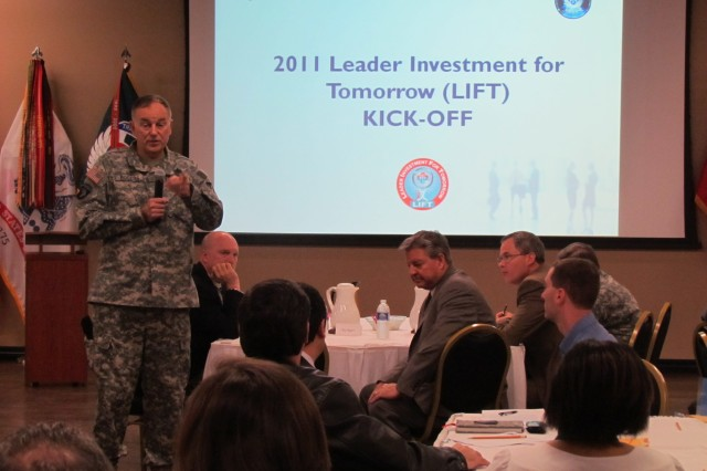 AMCOM commander Maj. Gen. Jim Rogers addresses the 2011 Leader Investment for Tomorrow kickoff held Thursday at the Community Activity Center auditorium.