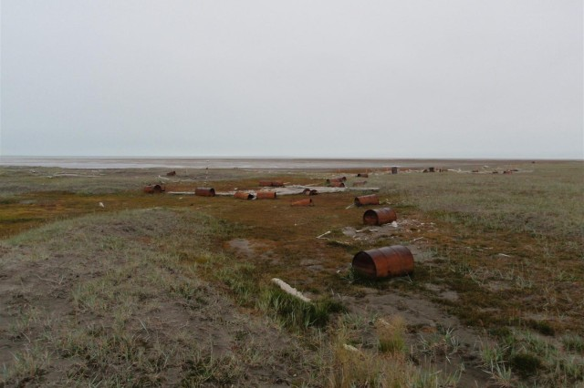 Numerous drums were deposited in the Jago River delta by storm events.  Over 1,400 drums were located and removed from the river delta.  This removal action helped to eliminate any future releases of petroleum product into the Arctic Ocean.