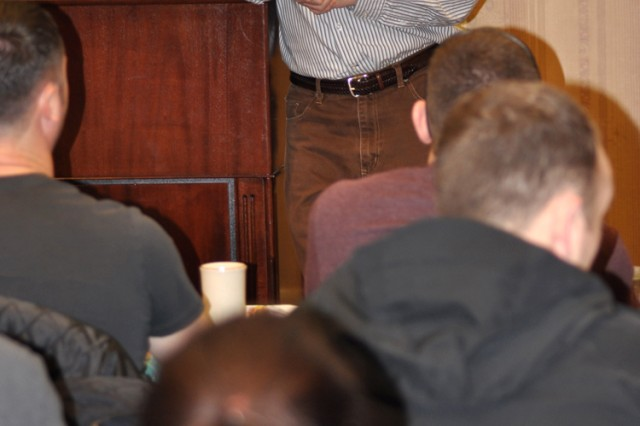 Chaplain (Col.) Jonathan McGraw speaks at the Strong Bonds family retreat in Garmisch, Germany.