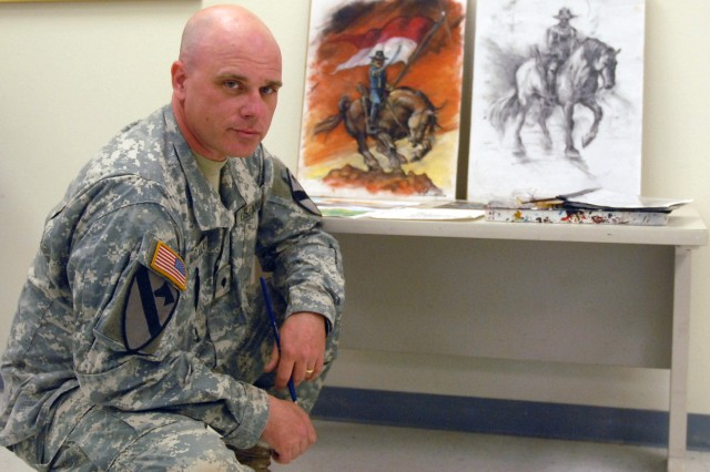 FORT HOOD, Texas - Spc. Scott Macaulay, from Boston, poses by his paintings Feb. 25. Macaulay has been painting murals and signs throughout the brigade since his enlistment in 2009.