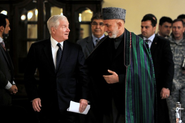 Gates meets Karzai
