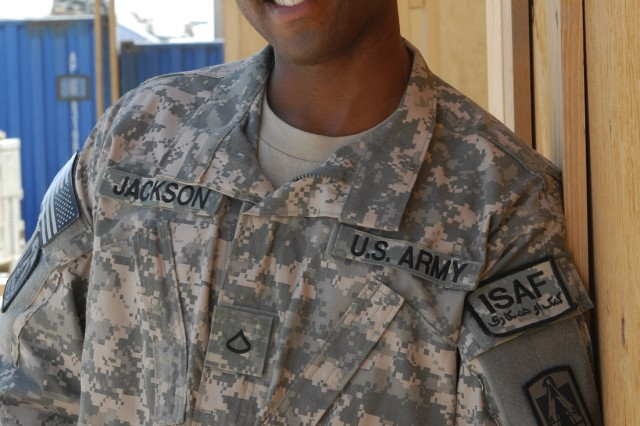 Detroit native Army Spc. Kendall Jackson (a Pfc. when photographed), a chaplain assistant with the 86th Expeditionary Signal Battalion, spends his first deployment at Kandahar, Afghanistan.