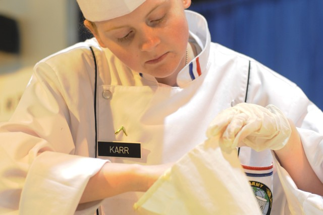 Pvt. Chelsea Karr, stationed in Bamburg, Germany, competed in the junior chef of the year competition that was part of the 36th Annual Culinary Arts Competition, March 3-9, at Fort Lee, Va.  She won a bronze medal for the U.S. Army Europe team.