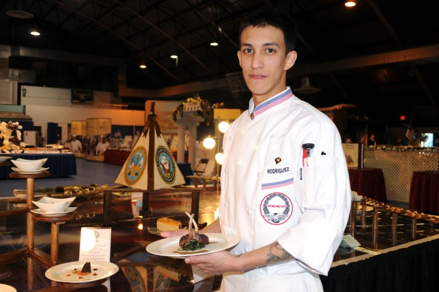 Spc. Bennett Rodriguez, stationed at Fort Story, Va., earned a bronze medal for his team as part of the team buffet portion of the 36th Annual Culinary Arts Competition, March 3-9, at Fort Lee, Va.
