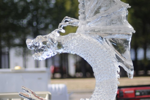 Chief Warrant Officer 3 Jeff Lein and his team from the U.S. Army Special Forces Command (Airborne), out of Fort Bragg, N.C., carved a dragon from a block of ice as part of the ice carving competition during the 36th Annual Culinary Arts Competition, March 3-9, at Fort Lee, Va.
