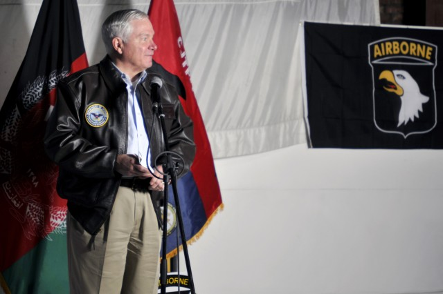 PARWAN PROVINCE, Afghanistan - U.S. Secretary of Defense Robert Gates gives a speech to U.S. service members stationed at Bagram Airfield March 7. Gates took a moment to answer questions from service members about what keeps him up at night and the length of future deployments. He then took the time to shake hands with each person present before leaving. (Photo by U.S. Army Sgt. Scott Davis, Regional Command-East Public Affairs)