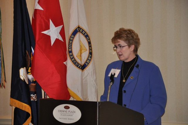 Jean Mills, FMWRC deputy director, welcomes delegates to the 2011 AFAP conference and shares updates to existing Army Family Programs. About 50 delegates from FORSCOM subordinate units across the country are attending the weeklong conference to prioritize FORSCOM's top 10 quality-of-life issues for resolution.