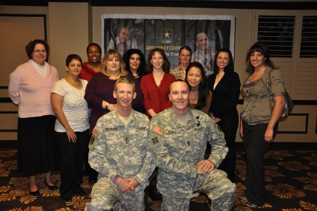 During the 2011 AFAP social hour conference delegates were able to mix and mingle with each other and FORSCOM officials.  FORSCOM Deputy Commander Howard B. Bromberg and Command Sergeant Major Ronald Riling are pictured with the Survivor/Career/Education work group.