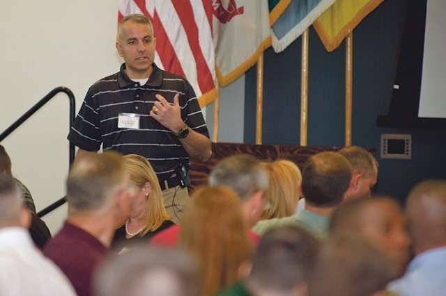 Lt. Col. Greg Burbelo, director of the Army Center for Enhanced Performance, speaks March 3 during the Maneuver Center of Excellence Senior Leaders Off-Site Conference at Columbus State University.