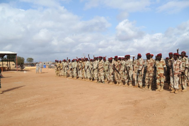 Djiboutian Army 2nd Company 1st Rapid Action Regiment, 2nd Lt. Omar Ali, 2nd Company commander, forms up his soldiers during a training course held in Ali Oune, Djibouti, Feb 2, 2011.