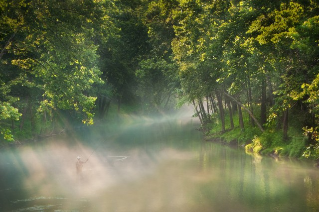 """Brenda Walker took first place in the Division II nature and landscapes category of the 2010 U.S. Army Digital Photography Contest with """"Morning Serenity,"""" a photo of a fisherman wading and casting in the middle of East Fork Indian Creek River on a steamy morning at Fort Campbell, Ky. Walker's photo also was voted most popular in her division of the contest on Army Knowledge Online."""
