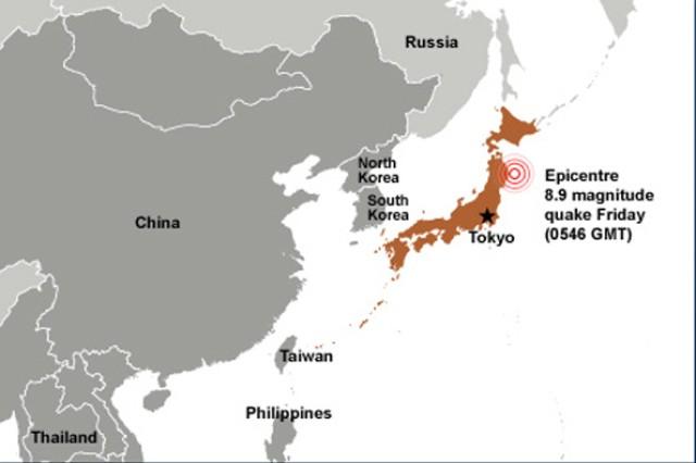 2011 Japan earthquake graphic
